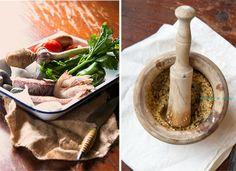 Ingredientes y picada de un suquet de pescado y marisco