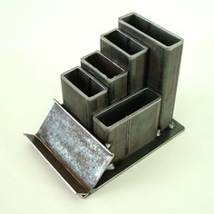 Industrial Steel Desk Organizer with Card Holder by CitiZenoBjeCts