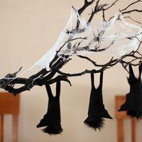 Themed centerpieces are great for holiday parties, but they take up valuable space on the table, leaving less room for food. A perfect solution to this dilemma is a floating centerpiece, which hangs above the table. For this Halloween floating centerpiece, a gnarled branch with sleeping bats appears to be suspended in midair, adding to the...
