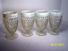 "Anchor Hocking  ""Moonstone"" # 2716, 10 ounce goblet set of 4"