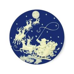 Shop Santa Claus Christmas Vintage Postcard Art Classic Round Sticker created by PrintTiques. Christmas Night, Merry Christmas And Happy New Year, Vintage Christmas, Christmas Gifts, Christmas Plates, Christmas Scenes, Modern Christmas, Christmas Pictures, Xmas