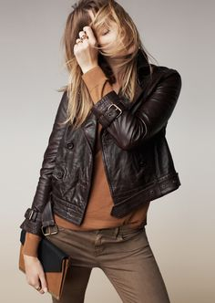 Madewell belted leather bomber, first draft sweater and the skinny skinny ankle sateen pants.