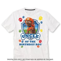 UNCLE zuma Paw patrol Birthday Shirt iron on by lauraspartyshop