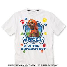 UNCLE zuma Paw patrol Birthday Shirt iron on by lauraspartyshop