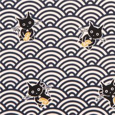 beige-blue fortune cat animal Japanese wave pattern Asia fabric from Japan