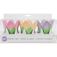 Wilton Petal Baking Cups, Multicolored, 72/pkg - easy flower cupcakes for baby shower