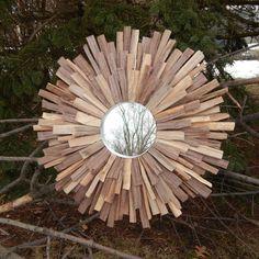 Natural Walnut Wood Sunburst Mirror Wall Art Mid by FallenWalnut