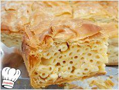 ΜΑΚΑΡΟΝΟΠΙΤΑ ΑΦΡΑΤΗ ΜΕ ΧΕΙΡΟΠΟΙΗΤΟ ΦΥΛΛΟ ΚΑΙ ΤΡΙΑ ΤΥΡΙΑ!!! - Νόστιμες συνταγές της Γωγώς! Apple Pie, Pasta, Lunch, Bread, Homemade, Cooking, Desserts, Recipes, Food