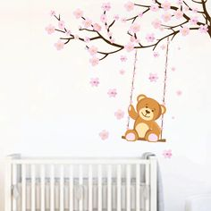 Make an awesome kids wall decoration with this awesome sweet bear on a tree branch wall sticker!Available in two sizes!Choose the best that fits your needs! Kids Room Wall Stickers, Flower Wall Stickers, Kids Wall Decor, Cute Bears, Tree Branches, Pink Flowers, Nursery Ideas, Sweet, Decoration
