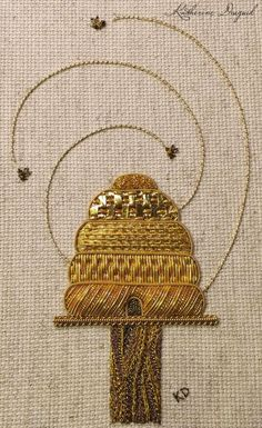 rachael-of-rose:Katherine Diuguid: a beehive in gorgeous goldwork embroidery. You can watch the piece develop on her website.