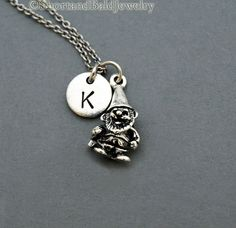 Gnome necklace Garden Gnome charm Gnome by ShortandBaldJewelry