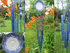Windchime Handmade Vintage Blue and White Plate and Stained Glass. $59.99, via Etsy.