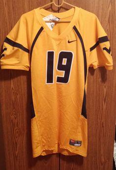 West Virgina Mountaineers NCAA #19 Large Yellow/Blue Jersey Crack Back #Nike #WestVirginiaMountaineers