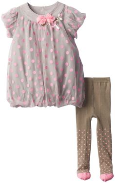 Petit Lem Baby-Girls Newborn Bubble Dress, Grey/Pink Dots, 3 Months