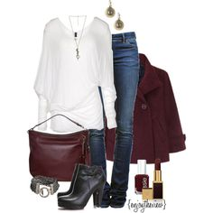 burgundy by enjoytheview on Polyvore featuring Ralph Lauren Black Label, Étoile Isabel Marant, MICHAEL Michael Kors, Goti, Wet Seal, Tom Ford, Essie, ankle boots, burgundy and jeans