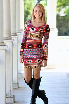 Crazy About You Aztec Dress. Pair with leggings and boots