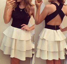 Black Color Block Cascading Ruffle Cross Back Sleeveless Dress