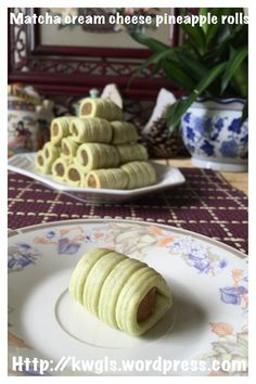 Matcha Cream Cheese Pineapple Rolls (绿茶奶酪凤梨卷)#guaishushu #kenneth_goh #matcha_cream_cheese_pineapple_rolls #绿茶奶酪凤梨卷 Pineapple Cookies, Pineapple Tart, Asian Desserts, Chinese Desserts, Chinese Recipes, Asian Recipes, Chinese New Year Cookies, Malaysian Food, Malaysian Recipes