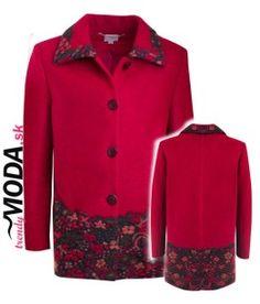 originálny dámsky zimný kabát červenej farby-trendymoda.sk