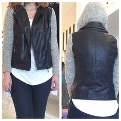 Moto jacket with sweater sleeves Faux leather zip front motorcycle jacket with knit sleeves and hood. Hood is removable! Excellent condition. Sisters Jackets & Coats Utility Jackets