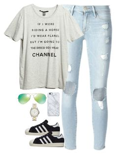 """Sin título #1893"" by mavii1 ❤ liked on Polyvore featuring Frame Denim, adidas, Ray-Ban, Uncommon and FOSSIL"