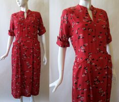 Late 1940's / early 1950's red black and white by afterglowvintage, $34.00