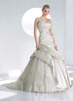 One shoulder dropped waist ball gown satin wedding dress