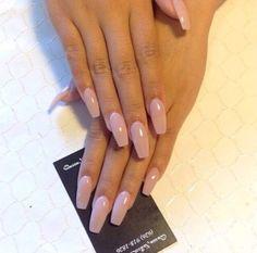 Sheer pink ballerina shaped nails. Love them!