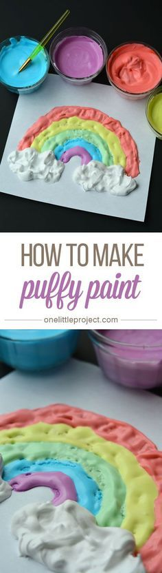 How to Make Puffy Paint – This was such a fun and EASY craft for the kids to do! They loved the texture and had so much fun mixing everything together! How to Make Puffy Paint – Thi Craft Activities For Kids, Preschool Crafts, Projects For Kids, Diy For Kids, Craft Projects, Craft Ideas, Kids Fun, 31 Ideas, Babysitting Activities