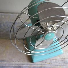 robin's egg blue vintage fan