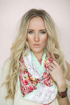 Infinity Lace & Floral Scarf, Bohemian Scarf, Mint Eyelet Trim, Women's Handmade Scarves, Floral Loop (SCF-85)