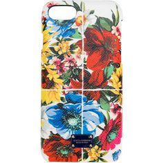 Dolce & Gabbana iPhone 7 floral print phone case ($275) ❤ liked on Polyvore featuring accessories, tech accessories and blue