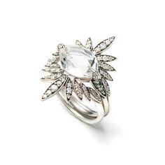 Silver Gaze Marquis Sunburst Ring   Alexis Bittar