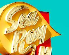 Vintage sign photography, mid century neon, retro modern decor, Jersey shore, mustard yellow, motel sign, aquamarine, scarlet. 20.00, via Etsy.