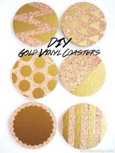 DIY Coasters DIY Gold Vinyl Coasters DIY Coasters