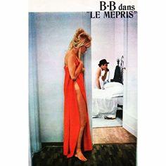 A| SATURDAYMORNING INSPIRATION | Brigitte Bardot in Le Mepris - french/italian movie from 1963 based on the book Il disprezzo written by Alberto Moravia #bb #brigittebardot #lemepris #france #italia #movie #cinema #sixties #albertomoravia #classic #brigitte #icon #iconic #beauty #rebel #amazing #colour #flirt #inspiring #love #affaire #men #red #loveoldmovies #moviestar #cinematography
