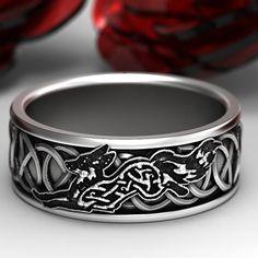 Sterling Silver Celtic Fox Ring, Fox Wedding Band, Mens Wedding Band, Irish Wedding, Fox Jewelry, Celtic Knot Ring, Custom Size 1151