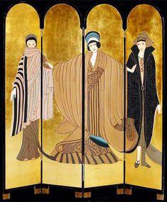 Jean Dunand - Art Déco - Paravent 'Trois Femmes' - Années 20
