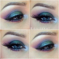 purple and green eye makeup idea