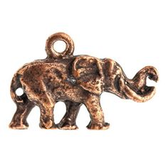 13.5x21.3mm Antique Copper Plated Pewter Small Elephant Charm by Nunn Design | Fusion Beads