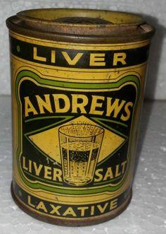 Rare Old Vintage ANDREWS LIVER SALT LITHO TIN BOX {MADE IN ENGLAND} Circa 1970's