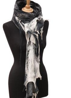 Wild Oversized wrap from Slowlab Firenze  F/W 2016 scarves collection. Black and white nuno felt merino wool on black cotton gauze.  125 e