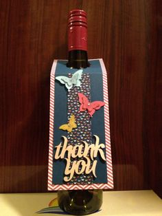 Butterfly thank you wine bottle tag. Used Stampin Up! Paper Pumpkin, Butterfly…