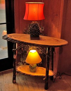 Need the Pinecone lamp and the rustic table