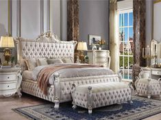 5 pc Picardy antique pearl finish wood and fabric tufted queen bedroom set. This set includes the Bed, Nightstand, Dresser, Mirror and Chest. Bed measures x x H. King Bedroom Sets, Queen Bedroom, Bedroom Furniture Sets, Acme Furniture, Furniture Outlet, King Beds, Queen Beds, Bed Dimensions, Headboard And Footboard