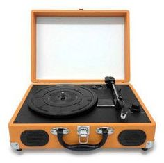Retro Belt-Drive Turntable With USB-to-PC Connection, Rechargeable Battery (Orange Color)