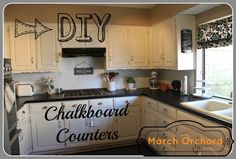 March Orchard: Chalkboard Countertops~Totally doing this to achieve faux soapstone counters