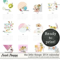 Sweet Shoppe Designs::NEW Releases::New Releases - 10/19::The little things 2014: printable calendar