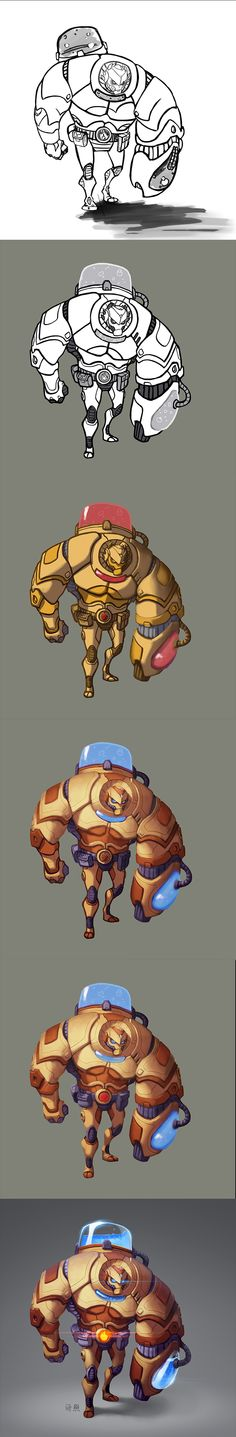 Game Character Design, Character Design References, Character Art, Process Art, Painting Process, Digital Painting Tutorials, Art Tutorials, Robot Art, Robots