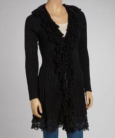 Look at this #zulilyfind! Black Fringe Wool-Blend Duster by JohnFashion #zulilyfinds